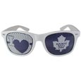 Toronto Maple Leafs  I Heart Game Day Shades - Our officially licensed I Heart game day shades are the perfect accessory for the devoted Toronto Maple Leafs  fan! The sunglasses have durable polycarbonate frames with flex hinges for comfort and damage resistance. The lenses feature brightly colored team clings that are perforated for visibility.