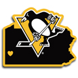 Pittsburgh Penguins® Home State Decal - It's a home state decal with a sporty twist! This Pittsburgh Penguins® decal feature the team logo over a silhouette of the state in team colors and a heart marking the home of the team. The decal is approximately 5 inches on repositionable vinyl.