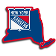 New York Rangers® Home State Decal - It's a home state decal with a sporty twist! This New York Rangers® decal feature the team logo over a silhouette of the state in team colors and a heart marking the home of the team. The decal is approximately 5 inches on repositionable vinyl.