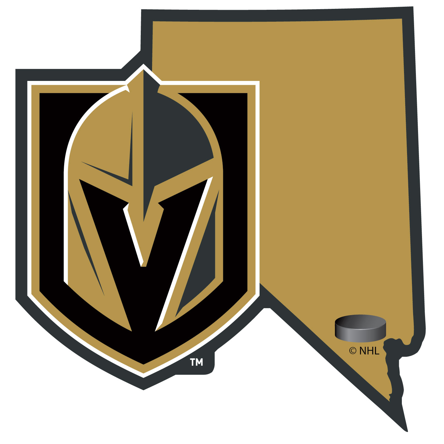 Las Vegas Golden Knights® Home State Decal - It's a home state decal with a sporty twist! This Las Vegas Golden Knights® decal feature the team logo over a silhouette of the state in team colors and a heart marking the home of the team. The decal is approximately 5 inches on repositionable vinyl.