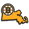 Boston Bruins® Home State Decal - It's a home state decal with a sporty twist! This Boston Bruins® decal feature the team logo over a silhouette of the state in team colors and a heart marking the home of the team. The decal is approximately 5 inches on repositionable vinyl.