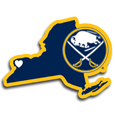 Buffalo Sabres® Home State Decal - It's a home state decal with a sporty twist! This Buffalo Sabres® decal feature the team logo over a silhouette of the state in team colors and a heart marking the home of the team. The decal is approximately 5 inches on repositionable vinyl.