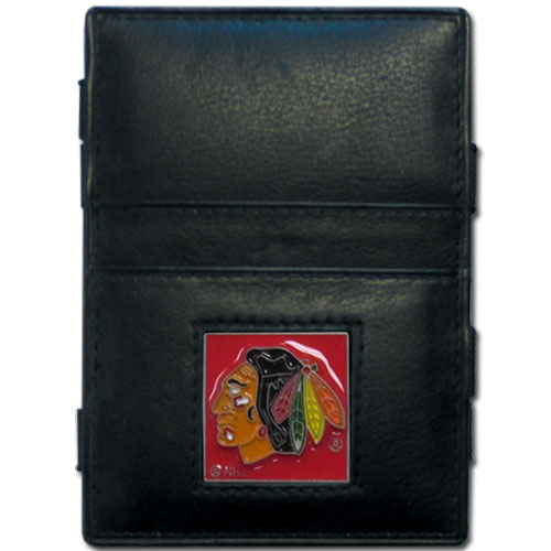 Chicago Blackhawks Leather Jacob's Ladder Wallet - This officially licensed NHL Chicago Blackhawks innovative jacob's ladder wallet design traps cash with just a simple flip of the wallet! There are also outer pockets to store your ID and credit cards. The Chicago Blackhawks Leather Jacob's Ladder Wallet is made of fine quality leather with a fully cast & enameled Chicago Blackhawks emblem on the front. Thank you for visiting CrazedOutSports
