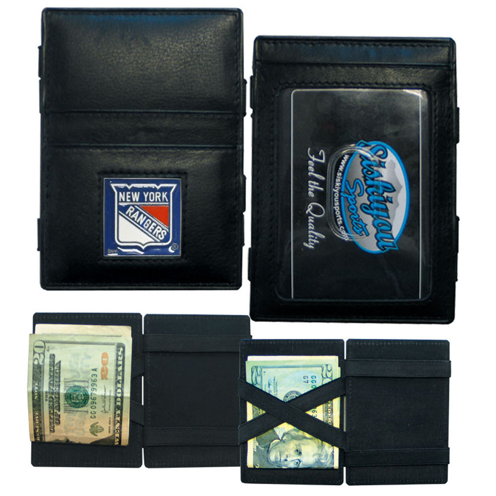 New York Rangers® Leather Jacob's Ladder Wallet - This officially licensed, innovative jacob's ladder wallet design traps cash with just a simple flip of the wallet! There are also outer pockets to store your ID and credit cards. The wallet is made of fine quality leather with a fully cast & enameled New York Rangers® emblem on the front.