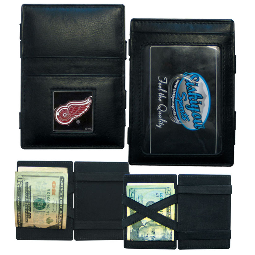 Detroit Red Wings® Leather Jacob's Ladder Wallet - This officially licensed, innovative jacob's ladder wallet design traps cash with just a simple flip of the wallet! There are also outer pockets to store your ID and credit cards. The wallet is made of fine quality leather with a fully cast & enameled Detroit Red Wings® emblem on the front.