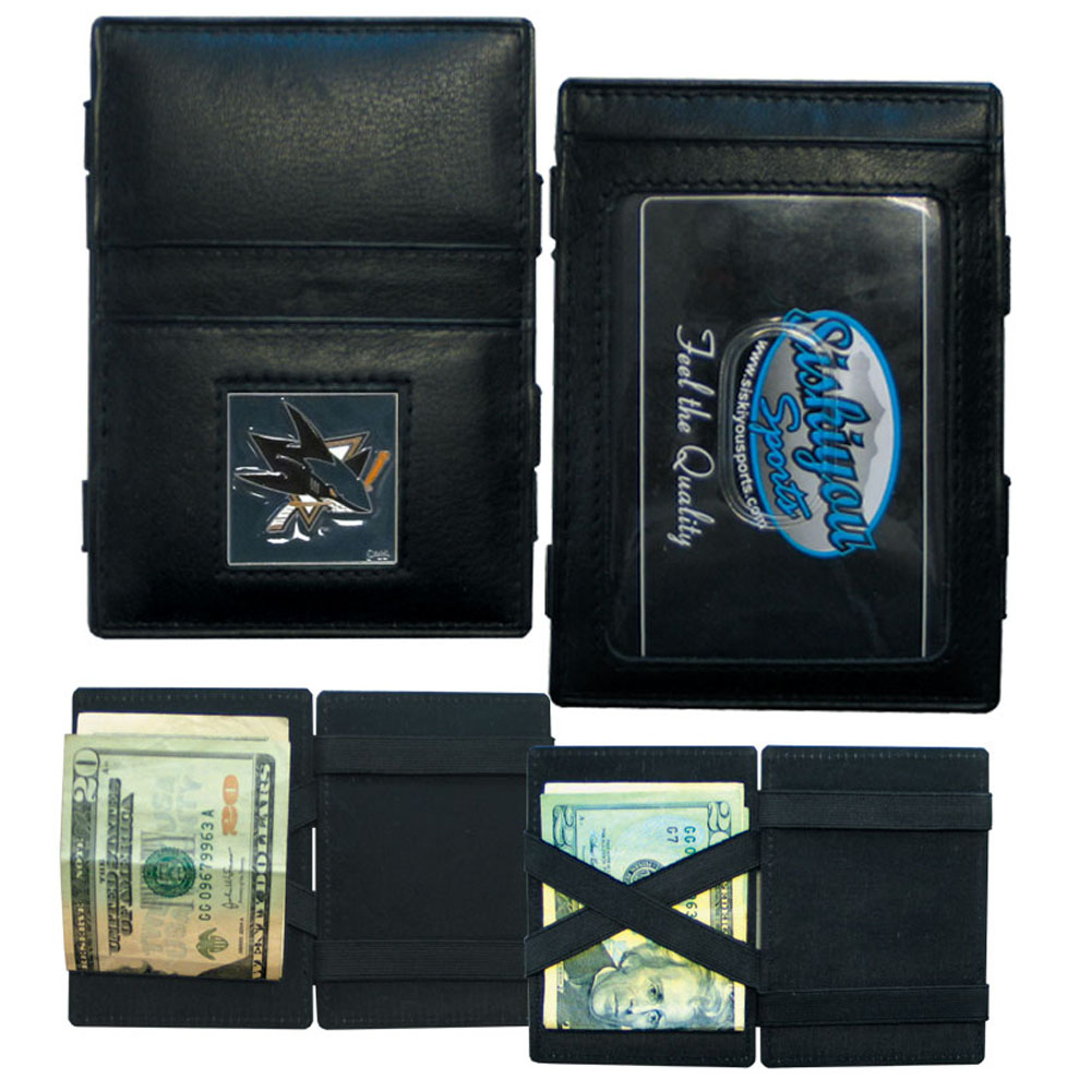 San Jose Sharks® Leather Jacob's Ladder Wallet - This officially licensed, innovative jacob's ladder wallet design traps cash with just a simple flip of the wallet! There are also outer pockets to store your ID and credit cards. The wallet is made of fine quality leather with a fully cast & enameled San Jose Sharks® emblem on the front.