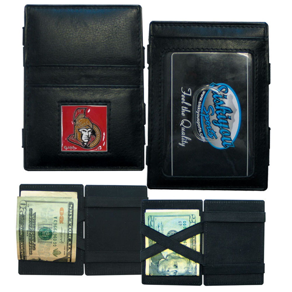 Ottawa Senators® Leather Jacob's Ladder Wallet - This officially licensed, innovative jacob's ladder wallet design traps cash with just a simple flip of the wallet! There are also outer pockets to store your ID and credit cards. The wallet is made of fine quality leather with a fully cast & enameled Ottawa Senators® emblem on the front.