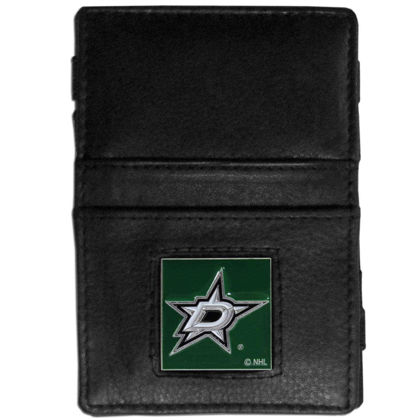 Dallas Stars™ Leather Jacob's Ladder Wallet - This officially licensed, innovative jacob's ladder wallet design traps cash with just a simple flip of the wallet! There are also outer pockets to store your ID and credit cards. The wallet is made of fine quality leather with a fully cast & enameled Dallas Stars™ emblem on the front.