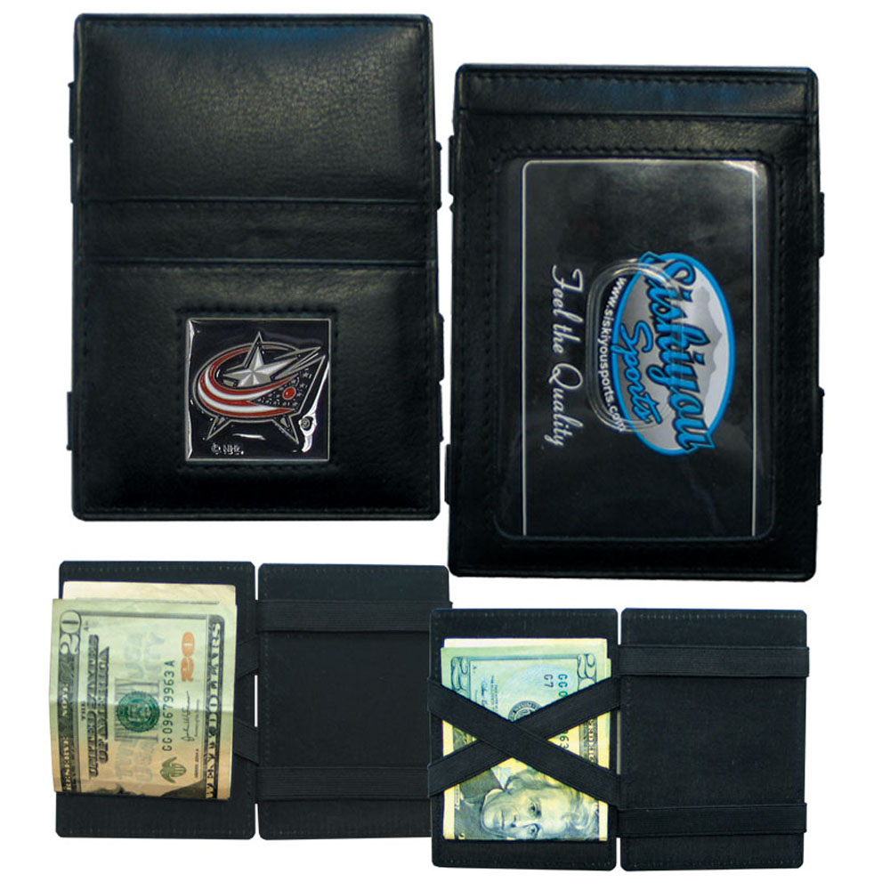 Columbus Blue Jackets® Leather Jacob's Ladder Wallet - This officially licensed, innovative jacob's ladder wallet design traps cash with just a simple flip of the wallet! There are also outer pockets to store your ID and credit cards. The wallet is made of fine quality leather with a fully cast & enameled Columbus Blue Jackets® emblem on the front.