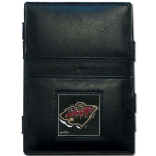 Minnesota Wild Leather Jacob's Ladder Wallet - This officially licensed NHL Minnesota Wild jacob's ladder wallet design traps cash with just a simple flip of the wallet! There are also outer pockets to store your ID and credit cards. The Minnesota Wild jacob's ladder wallet is made of fine quality leather with a fully cast & enameled Minnesota Wild emblem on the front.  Thank you for visiting CrazedOutSports