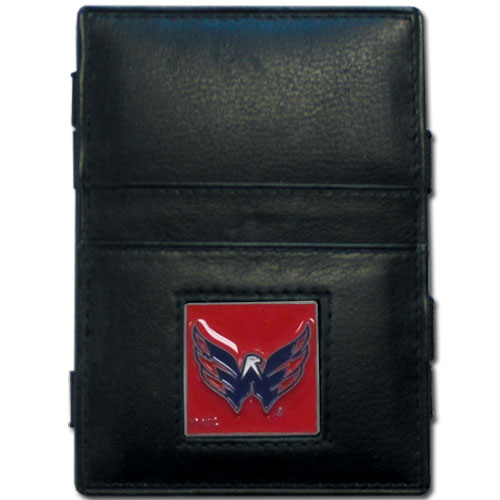 Washington Capitals Leather Jacob's Ladder Wallet - This officially licensed NHL Washington Capitals jacob's ladder wallet design traps cash with just a simple flip of the wallet! There are also outer pockets to store your ID and credit cards. The Washington Capitals jacob's ladder wallet is made of fine quality leather with a fully cast & enameled Washington Capitals emblem on the front. Thank you for visiting CrazedOutSports
