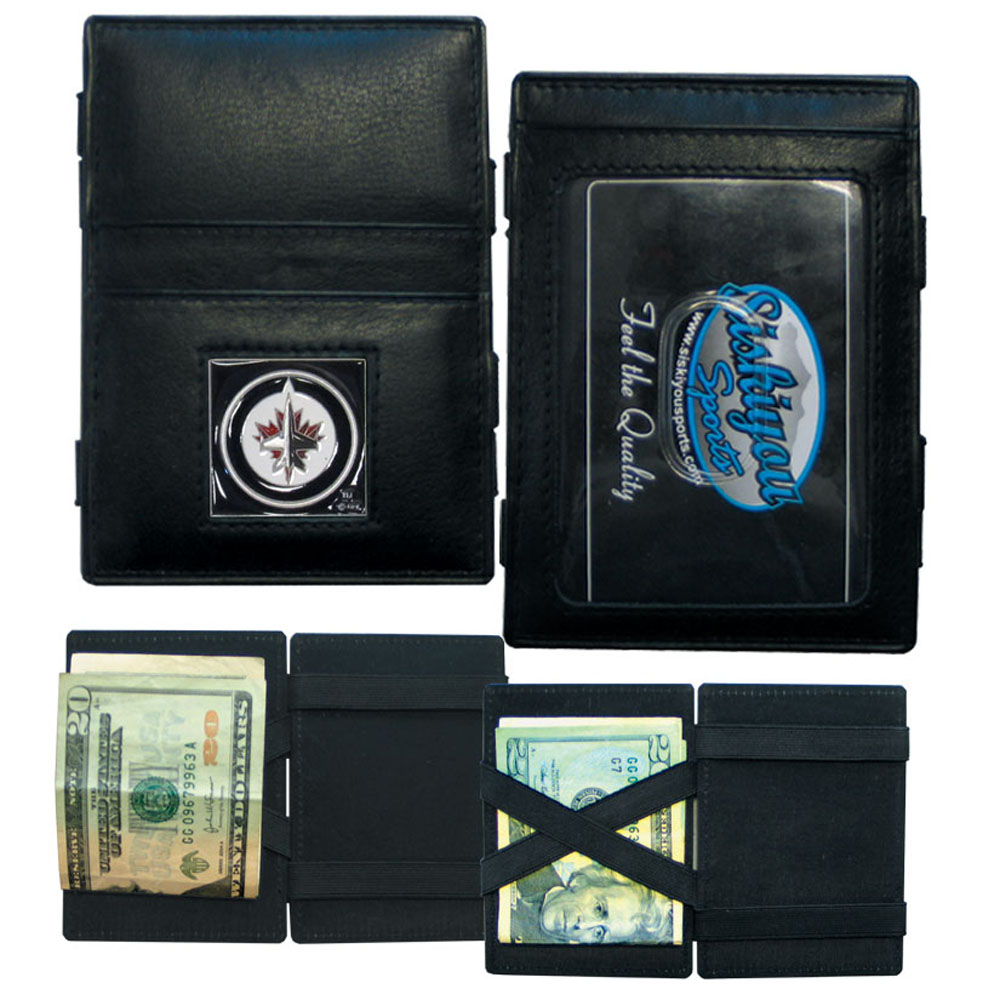 Winnipeg Jets™ Leather Jacob's Ladder Wallet - This officially licensed, innovative jacob's ladder wallet design traps cash with just a simple flip of the wallet! There are also outer pockets to store your ID and credit cards. The wallet is made of fine quality leather with a fully cast & enameled Winnipeg Jets™ emblem on the front.