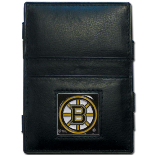 Boston Bruins Leather Jacob's Ladder Wallet - This officially licensed NHL Boston Bruins innovative jacob's ladder wallet design traps cash with just a simple flip of the wallet! There are also outer pockets to store your ID and credit cards. The Boston Bruins Leather Jacob's Ladder Wallet is made of fine quality leather with a fully cast & enameled Boston Bruins emblem on the front. Thank you for visiting CrazedOutSports