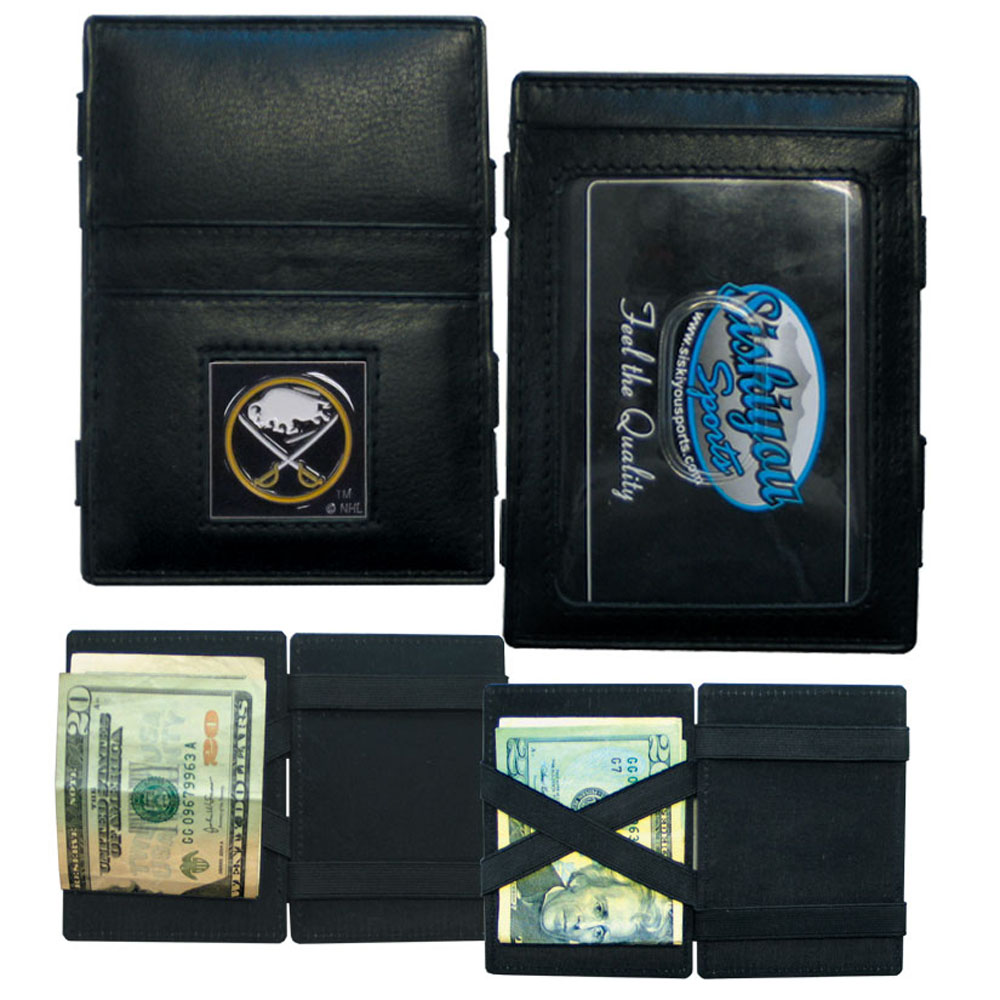 Buffalo Sabres® Leather Jacob's Ladder Wallet - This officially licensed, innovative jacob's ladder wallet design traps cash with just a simple flip of the wallet! There are also outer pockets to store your ID and credit cards. The wallet is made of fine quality leather with a fully cast & enameled Buffalo Sabres® emblem on the front.