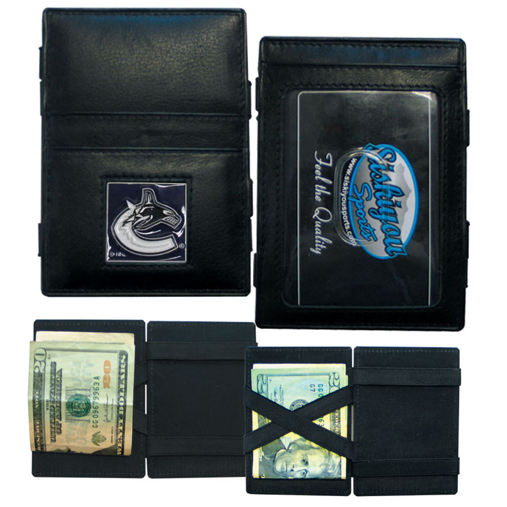 Vancouver Canucks® Leather Jacob's Ladder Wallet - This officially licensed, innovative jacob's ladder wallet design traps cash with just a simple flip of the wallet! There are also outer pockets to store your ID and credit cards. The wallet is made of fine quality leather with a fully cast & enameled Vancouver Canucks® emblem on the front.