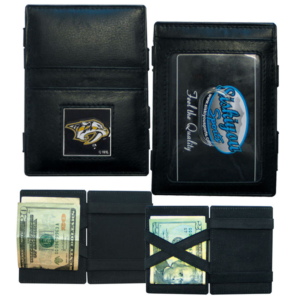 Nashville Predators® Leather Jacob's Ladder Wallet - This officially licensed, innovative jacob's ladder wallet design traps cash with just a simple flip of the wallet! There are also outer pockets to store your ID and credit cards. The wallet is made of fine quality leather with a fully cast & enameled Nashville Predators® emblem on the front.