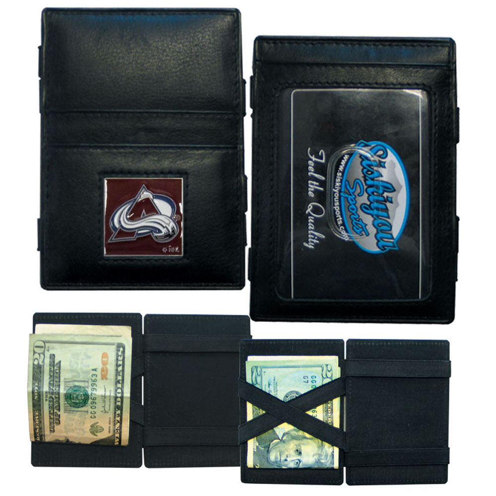 Colorado Avalanche® Leather Jacob's Ladder Wallet - This officially licensed, innovative jacob's ladder wallet design traps cash with just a simple flip of the wallet! There are also outer pockets to store your ID and credit cards. The wallet is made of fine quality leather with a fully cast & enameled Colorado Avalanche® emblem on the front.