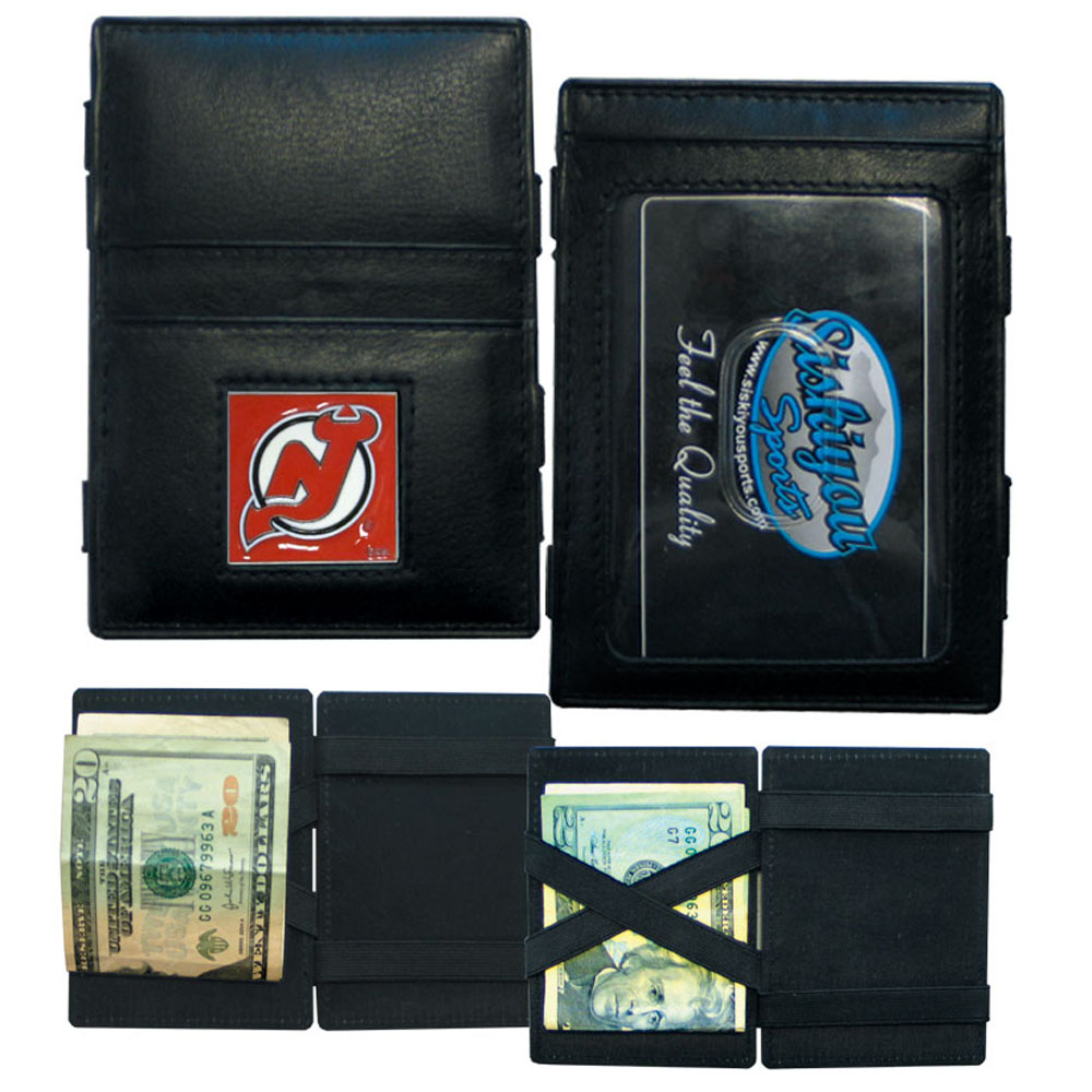 New Jersey Devils® Leather Jacob's Ladder Wallet - This officially licensed, innovative jacob's ladder wallet design traps cash with just a simple flip of the wallet! There are also outer pockets to store your ID and credit cards. The wallet is made of fine quality leather with a fully cast & enameled New Jersey Devils® emblem on the front.