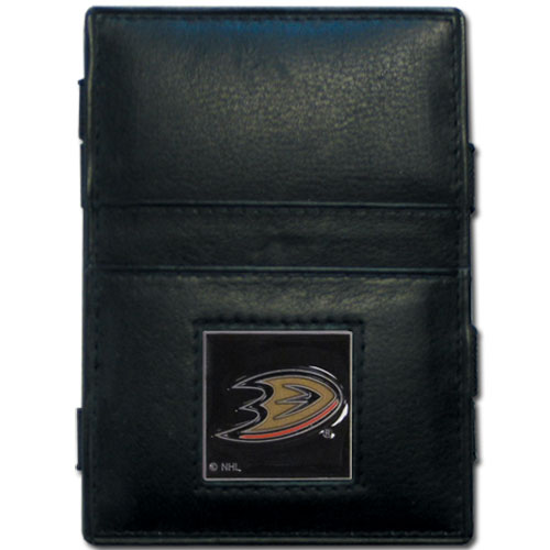Anaheim Ducks Leather Jacob's Ladder Wallet - This officially licensed NHL Anaheim Ducks Leather Jacob's Ladder Wallet design traps cash with just a simple flip of the wallet! There are also outer pockets to store your ID and credit cards. The Anaheim Ducks Leather Jacob's Ladder Wallet is made of fine quality leather with a fully cast & enameled Anaheim Ducks emblem on the front.  Thank you for visiting CrazedOutSports