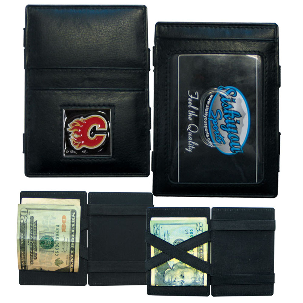 Calgary Flames® Leather Jacob's Ladder Wallet - This officially licensed, innovative jacob's ladder wallet design traps cash with just a simple flip of the wallet! There are also outer pockets to store your ID and credit cards. The wallet is made of fine quality leather with a fully cast & enameled Calgary Flames® emblem on the front.