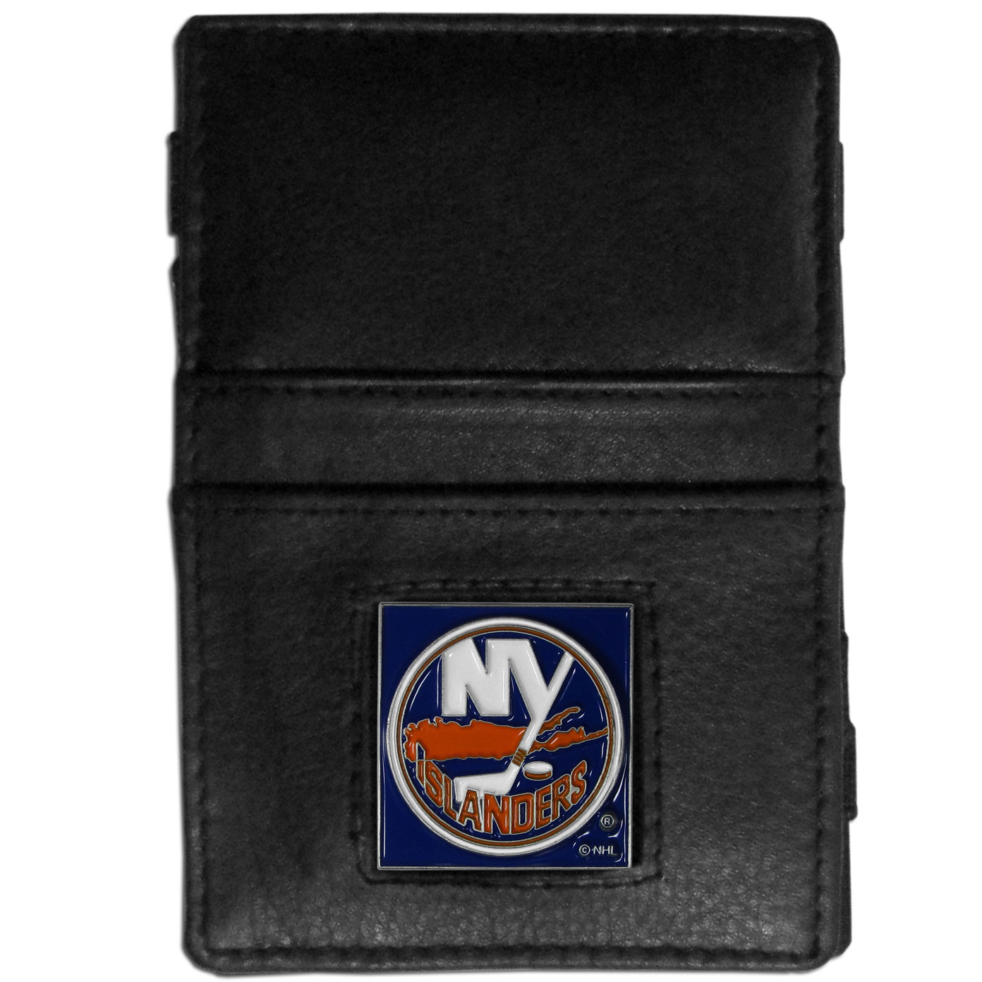 New York Islanders® Leather Jacob's Ladder Wallet - This officially licensed, innovative jacob's ladder wallet design traps cash with just a simple flip of the wallet! There are also outer pockets to store your ID and credit cards. The wallet is made of fine quality leather with a fully cast & enameled New York Islanders® emblem on the front.