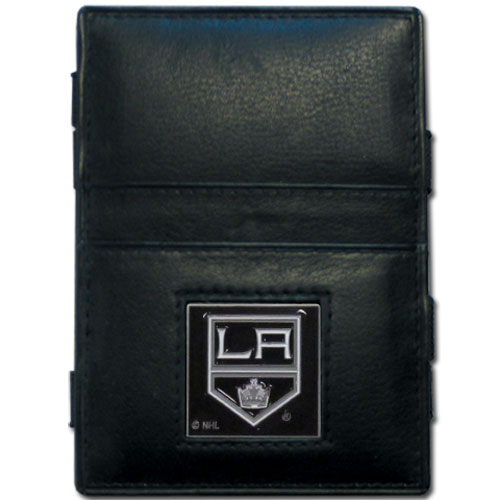 Los Angeles Kings Leather Jacob's Ladder Wallet - This officially licensed NHL Los Angeles Kings jacob's ladder wallet design traps cash with just a simple flip of the wallet! There are also outer pockets to store your ID and credit cards. The Los Angeles Kings Leather Jacob's Ladder Wallet is made of fine quality leather with a fully cast & enameled Los Angeles Kings emblem on the front.