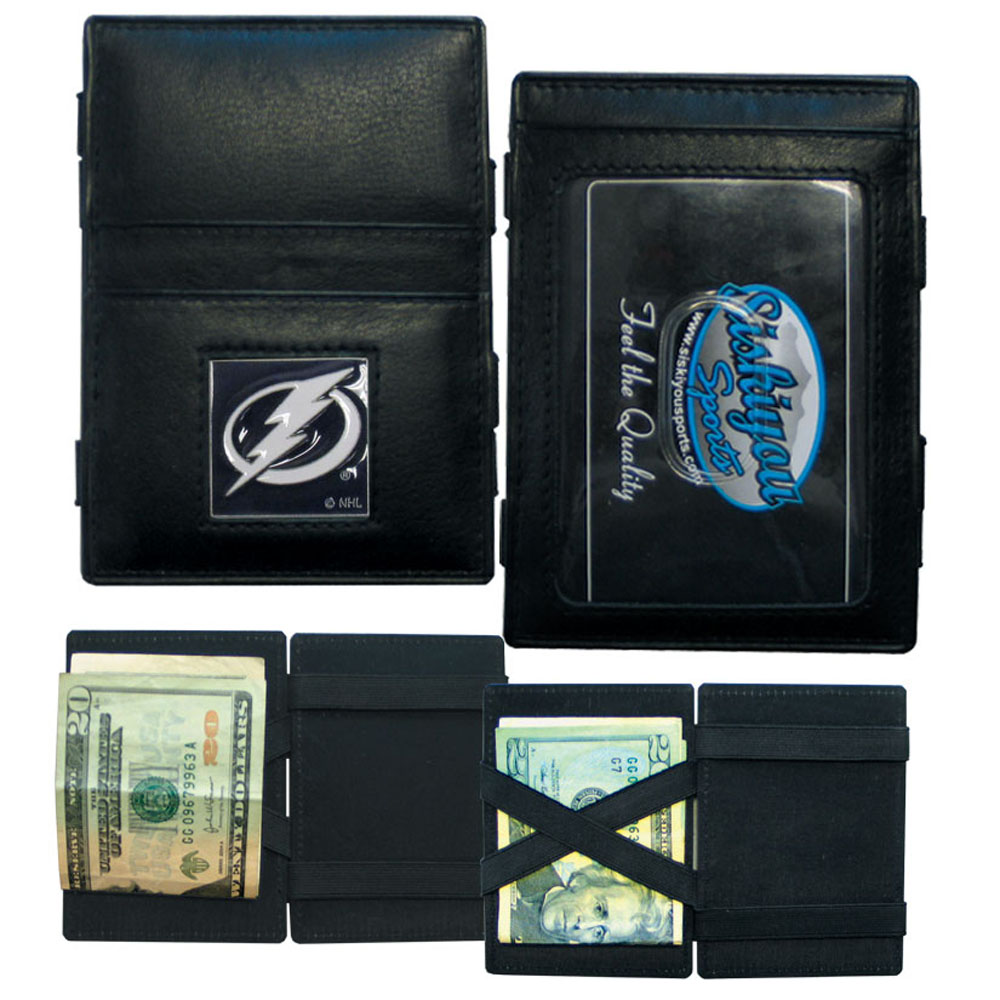 Tampa Bay Lightning® Leather Jacob's Ladder Wallet - This officially licensed, innovative jacob's ladder wallet design traps cash with just a simple flip of the wallet! There are also outer pockets to store your ID and credit cards. The wallet is made of fine quality leather with a fully cast & enameled Tampa Bay Lightning® emblem on the front.