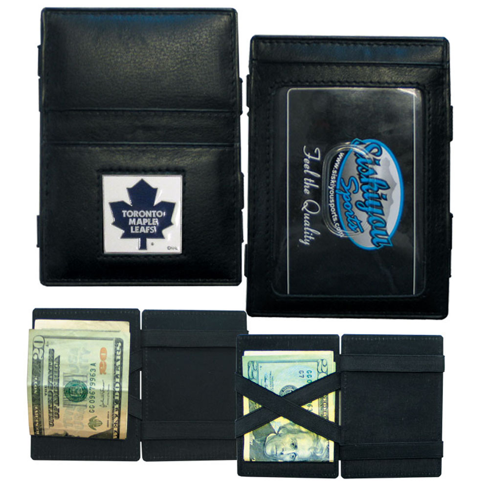 Toronto Maple Leafs® Leather Jacob's Ladder Wallet - This officially licensed, innovative jacob's ladder wallet design traps cash with just a simple flip of the wallet! There are also outer pockets to store your ID and credit cards. The wallet is made of fine quality leather with a fully cast & enameled Toronto Maple Leafs® emblem on the front.