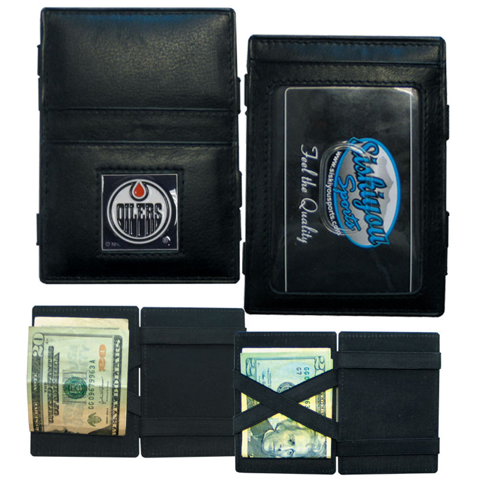 Edmonton Oilers® Leather Jacob's Ladder Wallet - This officially licensed, innovative jacob's ladder wallet design traps cash with just a simple flip of the wallet! There are also outer pockets to store your ID and credit cards. The wallet is made of fine quality leather with a fully cast & enameled Edmonton Oilers® emblem on the front.