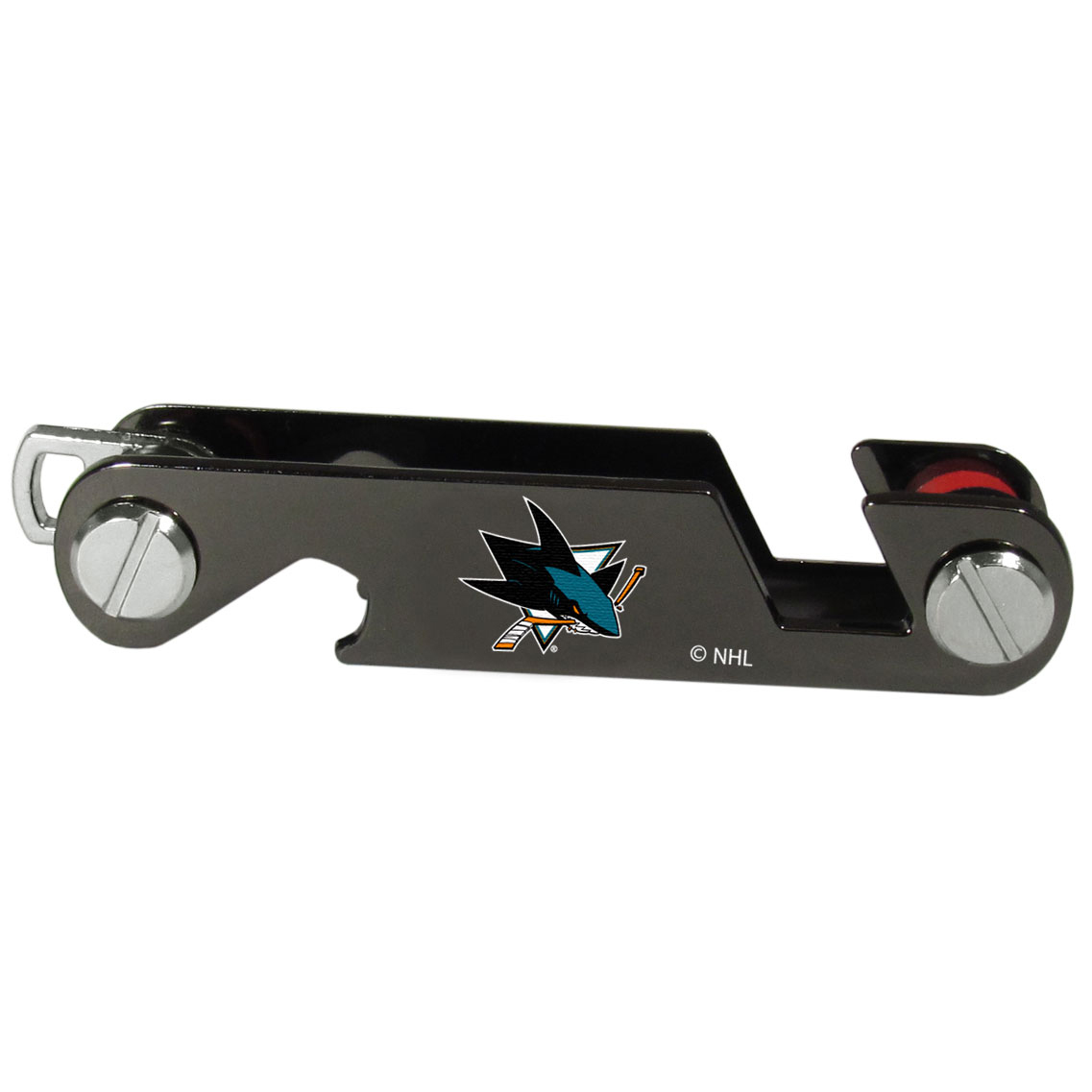 San Jose Sharks® Key Organizer - This innovative key organizer stores your keys in a compact, easy to access bundle with Swiss style engineering. With the San Jose Sharks® key organizer you can load up to 10 keys that zipper back into the organizer so that you never have to deal with keys poking you in your pocket, damaging your purse or simply creating a ton of noise. There is a handy loop piece to attach your larger car key or fob.