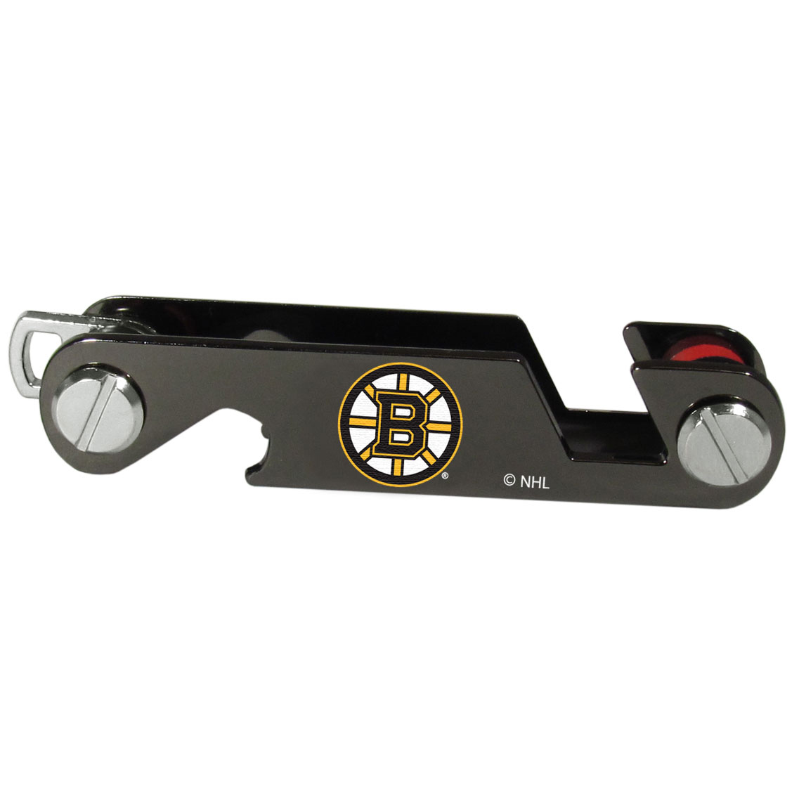 Boston Bruins® Key Organizer - This innovative key organizer stores your keys in a compact, easy to access bundle with Swiss style engineering. With the Boston Bruins® key organizer you can load up to 10 keys that zipper back into the organizer so that you never have to deal with keys poking you in your pocket, damaging your purse or simply creating a ton of noise. There is a handy loop piece to attach your larger car key or fob.