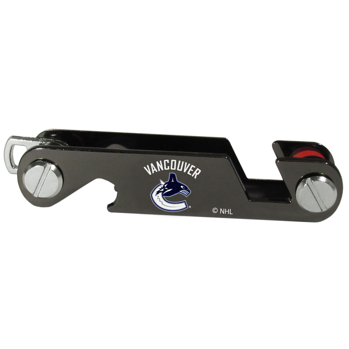 Vancouver Canucks® Key Organizer - This innovative key organizer stores your keys in a compact, easy to access bundle with Swiss style engineering. With the Vancouver Canucks® key organizer you can load up to 10 keys that zipper back into the organizer so that you never have to deal with keys poking you in your pocket, damaging your purse or simply creating a ton of noise. There is a handy loop piece to attach your larger car key or fob.