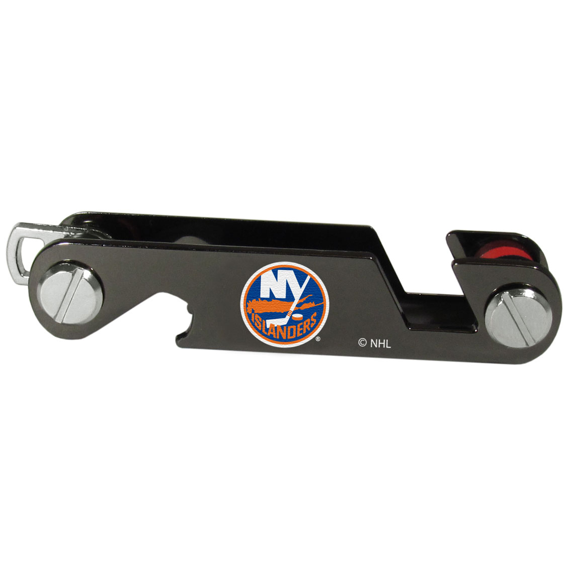 New York Islanders® Key Organizer - This innovative key organizer stores your keys in a compact, easy to access bundle with Swiss style engineering. With the New York Islanders® key organizer you can load up to 10 keys that zipper back into the organizer so that you never have to deal with keys poking you in your pocket, damaging your purse or simply creating a ton of noise. There is a handy loop piece to attach your larger car key or fob.