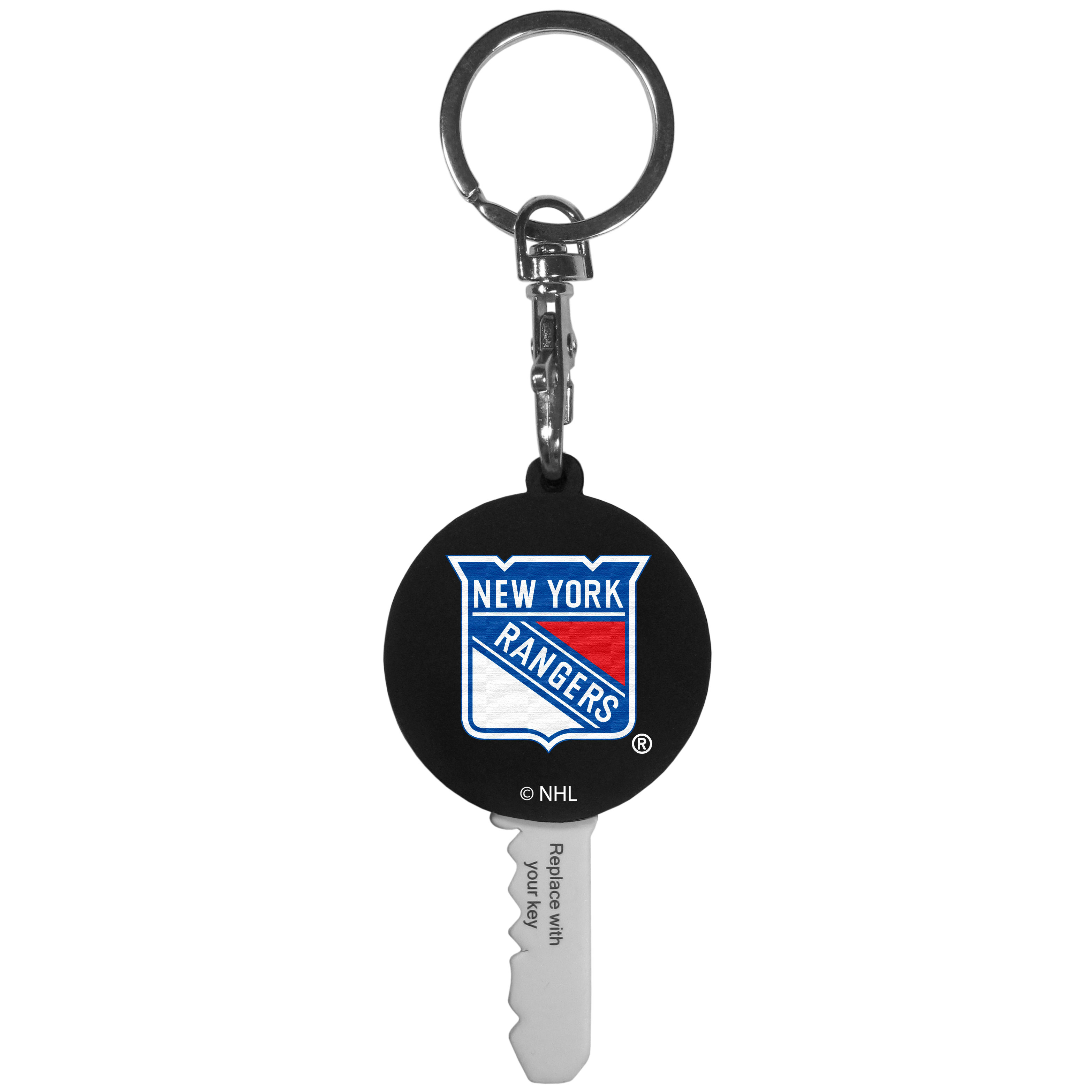 New York Rangers® Mini Light Key Topper - This super handy little key topper has a built in mini light that illuminates the lock so you do not have to fumble in the dark trying to open your door. You slide your house key into the top of the rubber key topper and your ready to go. The topper features a New York Rangers® logo on the front of the topper.