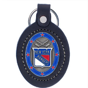 Large Leather Key Chain - Rangers - This New York Rangers key fob combines fine leather surrounding a sculpted & enameled team emblem. American craftsmanship makes this key ring a unique and long lasting gift. Made in America.