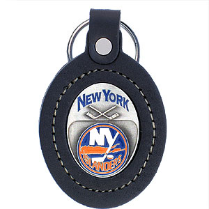 Large Leather Key Chain - Islanders - This New York Islanders key fob combines fine leather surrounding a sculpted & enameled team emblem. American craftsmanship makes this key ring a unique and long lasting gift. Made in America.