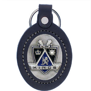Large Leather Key Chain - Kings - This Los Angeles Kings key fob combines fine leather surrounding a sculpted & enameled team emblem. American craftsmanship makes this key ring a unique and long lasting gift. Made in America.