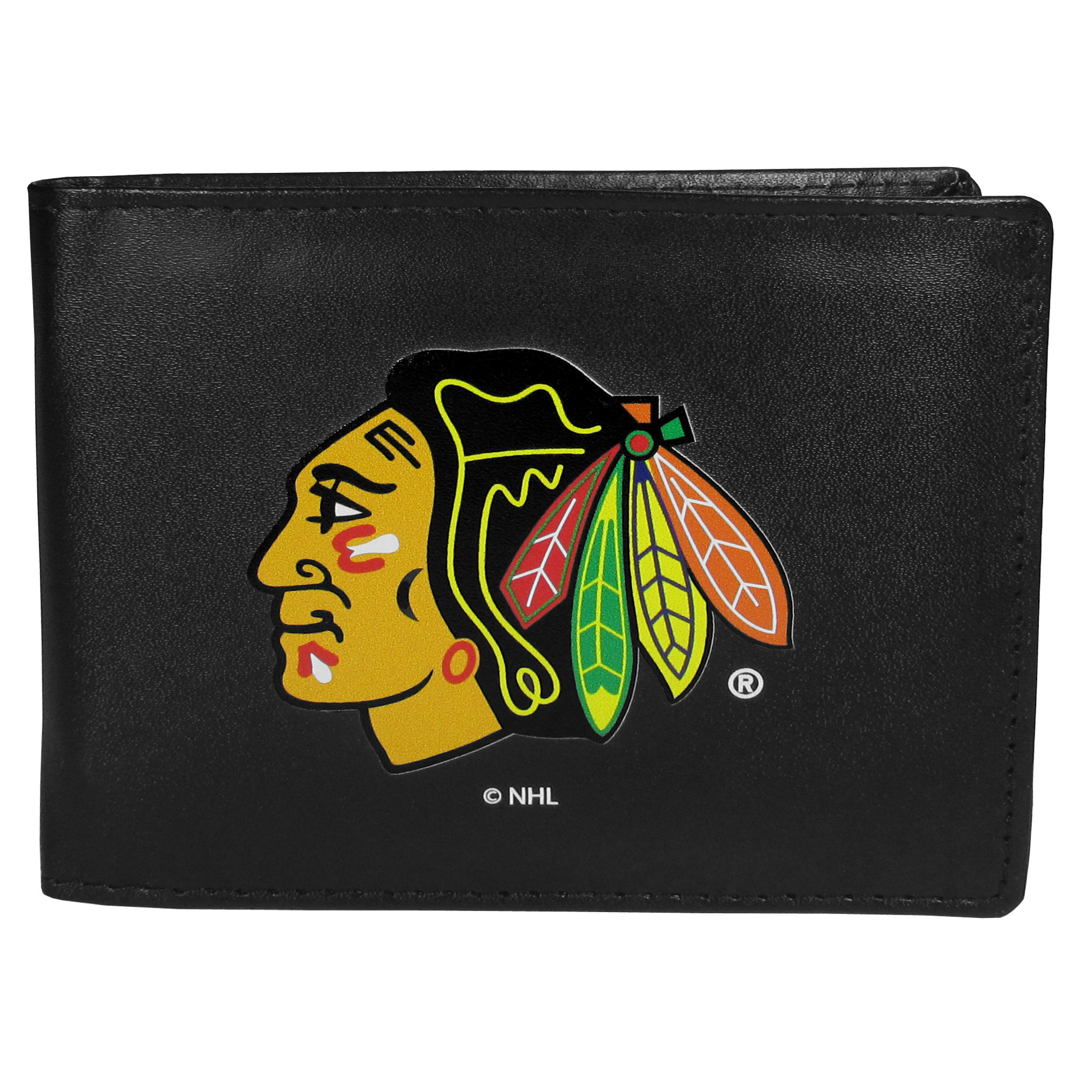 Chicago Blackhawks® Leather Bi-fold Wallet, Large Logo - Our classic fine leather bi-fold wallet is meticulously crafted with genuine leather that will age beautifully so you will have a quality wallet for years to come. The wallet opens to a large, billfold pocket and numerous credit card slots and has a convenient windowed ID slot. The front of the wallet features an extra large Chicago Blackhawks® printed logo.