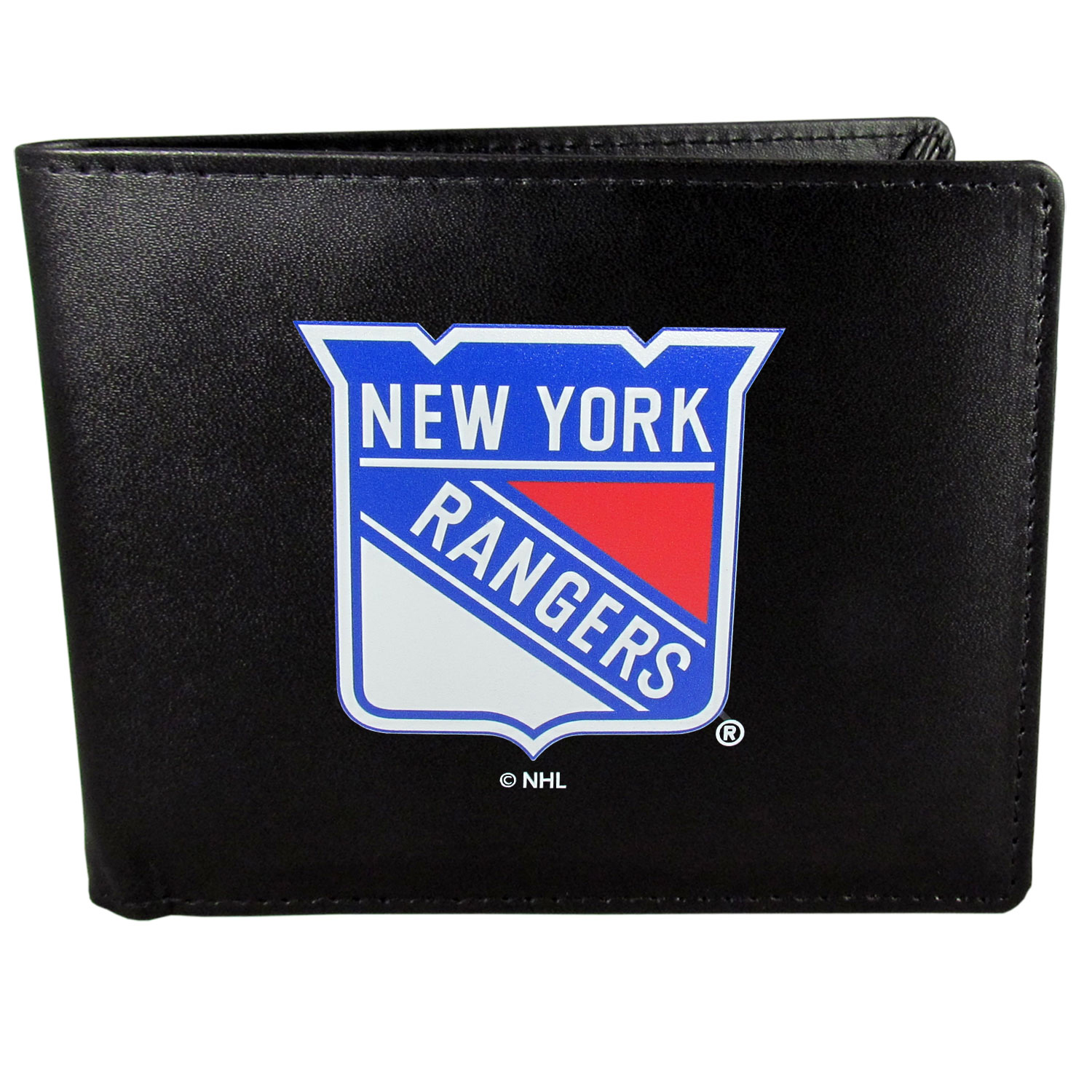 New York Rangers® Leather Bi-fold Wallet, Large Logo - Our classic fine leather bi-fold wallet is meticulously crafted with genuine leather that will age beautifully so you will have a quality wallet for years to come. The wallet opens to a large, billfold pocket and numerous credit card slots and has a convenient windowed ID slot. The front of the wallet features an extra large New York Rangers® printed logo.