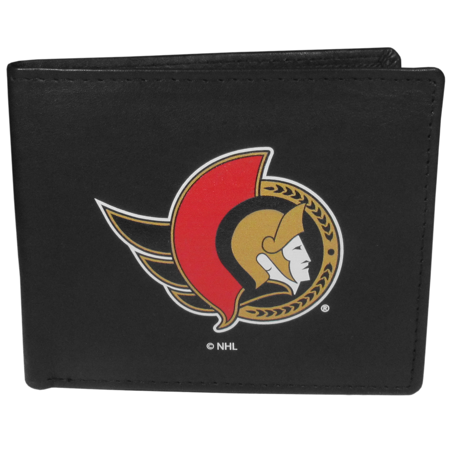 Ottawa Senators® Leather Bi-fold Wallet, Large Logo - Our classic fine leather bi-fold wallet is meticulously crafted with genuine leather that will age beautifully so you will have a quality wallet for years to come. The wallet opens to a large, billfold pocket and numerous credit card slots and has a convenient windowed ID slot. The front of the wallet features an extra large Ottawa Senators® printed logo.