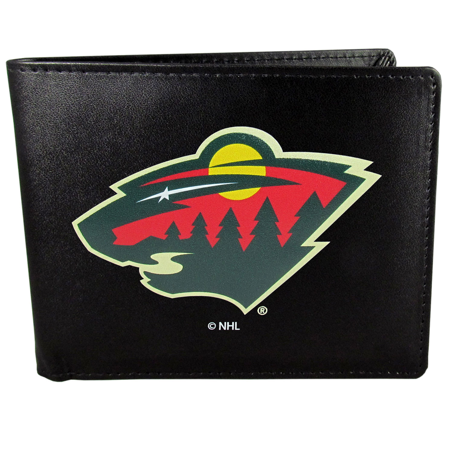 Minnesota Wild® Leather Bi-fold Wallet, Large Logo - Our classic fine leather bi-fold wallet is meticulously crafted with genuine leather that will age beautifully so you will have a quality wallet for years to come. The wallet opens to a large, billfold pocket and numerous credit card slots and has a convenient windowed ID slot. The front of the wallet features an extra large Minnesota Wild® printed logo.