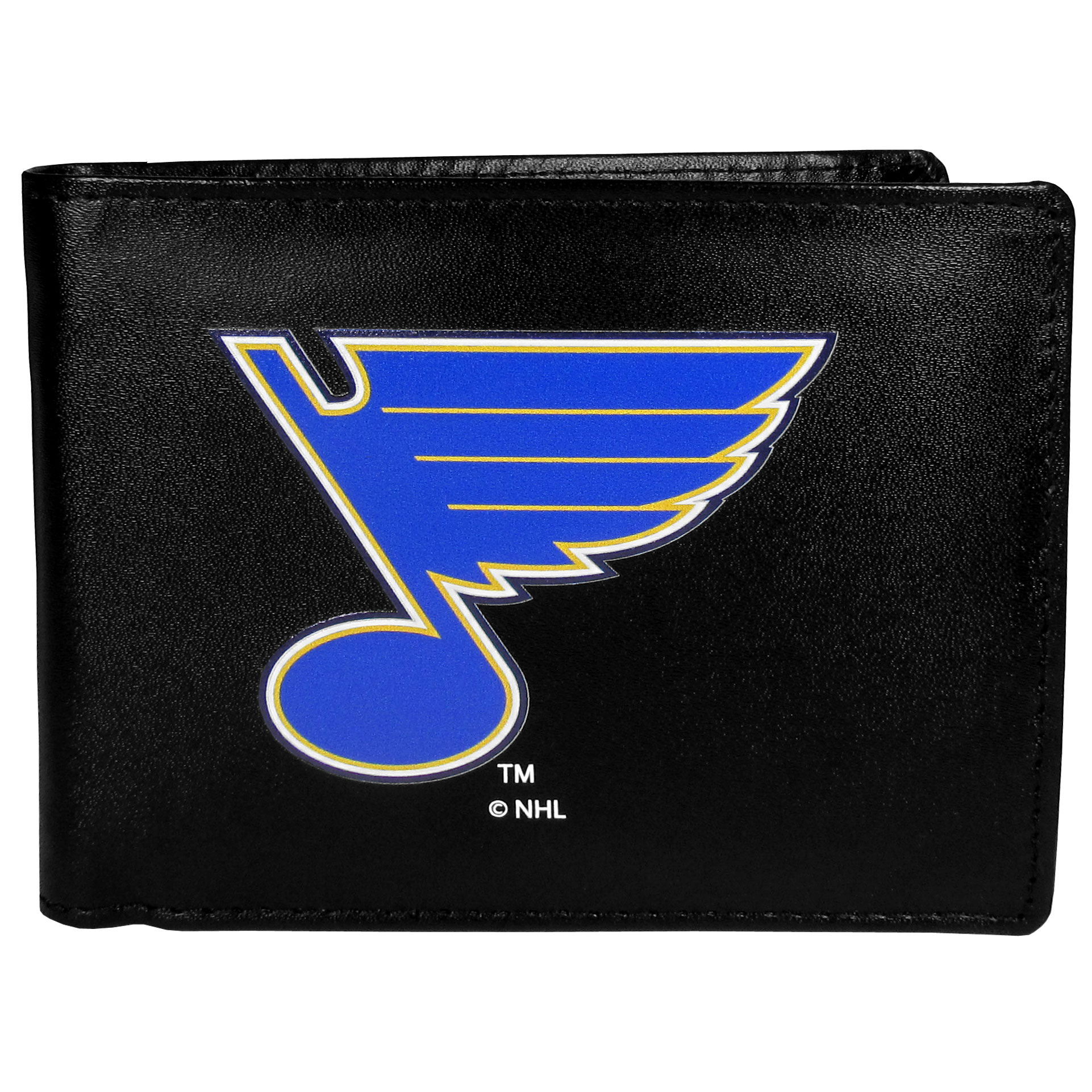 St. Louis Blues® Leather Bi-fold Wallet, Large Logo - Our classic fine leather bi-fold wallet is meticulously crafted with genuine leather that will age beautifully so you will have a quality wallet for years to come. The wallet opens to a large, billfold pocket and numerous credit card slots and has a convenient windowed ID slot. The front of the wallet features an extra large St. Louis Blues® printed logo.