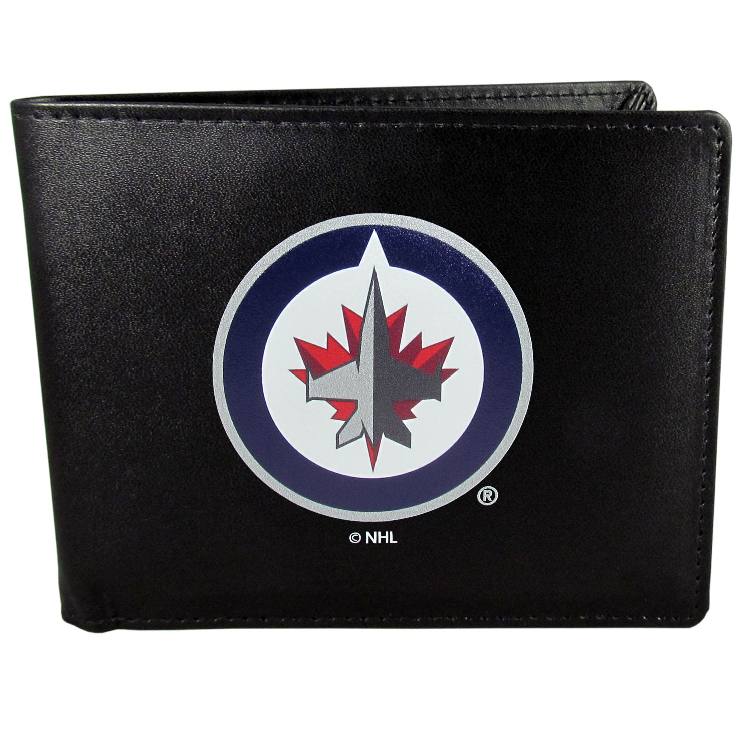Winnipeg Jets™ Leather Bi-fold Wallet, Large Logo - Our classic fine leather bi-fold wallet is meticulously crafted with genuine leather that will age beautifully so you will have a quality wallet for years to come. The wallet opens to a large, billfold pocket and numerous credit card slots and has a convenient windowed ID slot. The front of the wallet features an extra large Winnipeg Jets™ printed logo.
