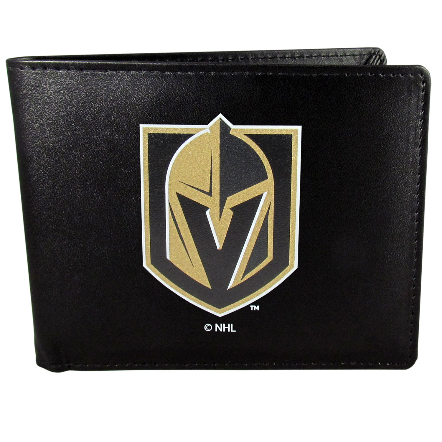 Vegas Golden Knights® Leather Bi-fold Wallet, Large Logo - Our classic fine leather bi-fold wallet is meticulously crafted with genuine leather that will age beautifully so you will have a quality wallet for years to come. The wallet opens to a large, billfold pocket and numerous credit card slots and has a convenient windowed ID slot. The front of the wallet features an extra large Vegas Golden Knights® printed logo.