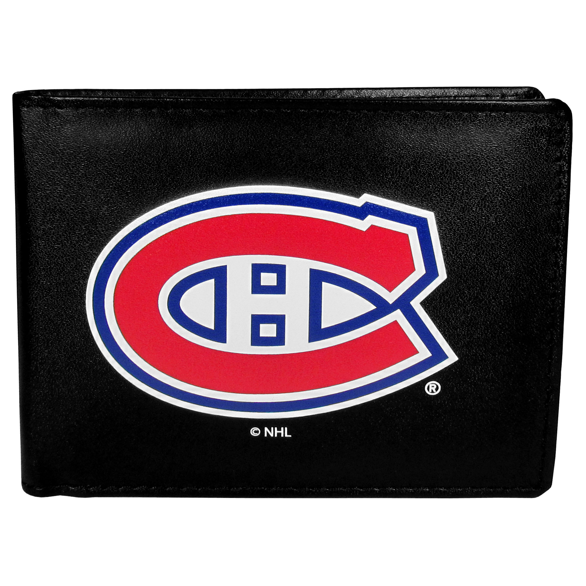 Montreal Canadiens® Leather Bi-fold Wallet, Large Logo - Our classic fine leather bi-fold wallet is meticulously crafted with genuine leather that will age beautifully so you will have a quality wallet for years to come. The wallet opens to a large, billfold pocket and numerous credit card slots and has a convenient windowed ID slot. The front of the wallet features an extra large Montreal Canadiens® printed logo.