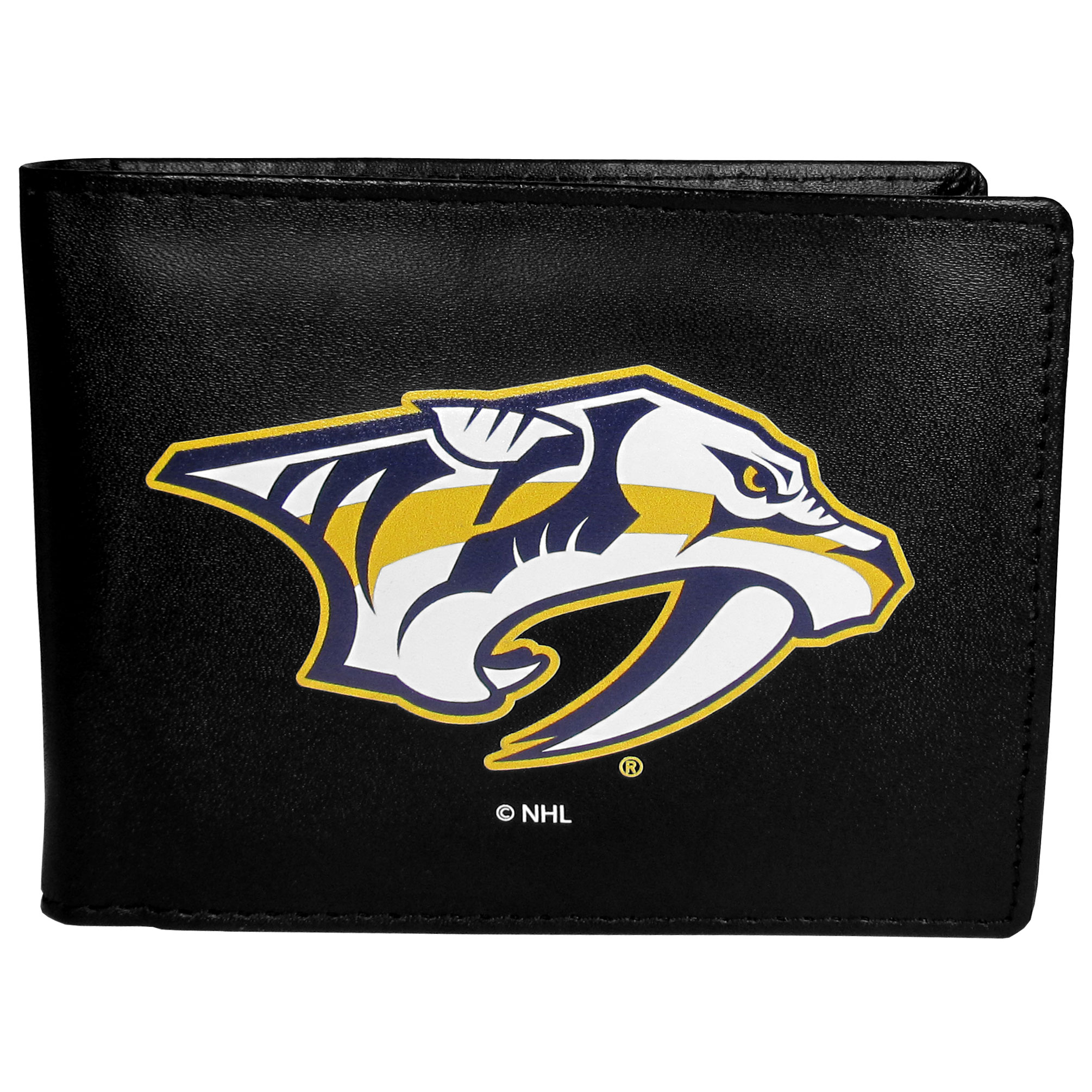 Nashville Predators® Leather Bi-fold Wallet, Large Logo - Our classic fine leather bi-fold wallet is meticulously crafted with genuine leather that will age beautifully so you will have a quality wallet for years to come. The wallet opens to a large, billfold pocket and numerous credit card slots and has a convenient windowed ID slot. The front of the wallet features an extra large Nashville Predators® printed logo.