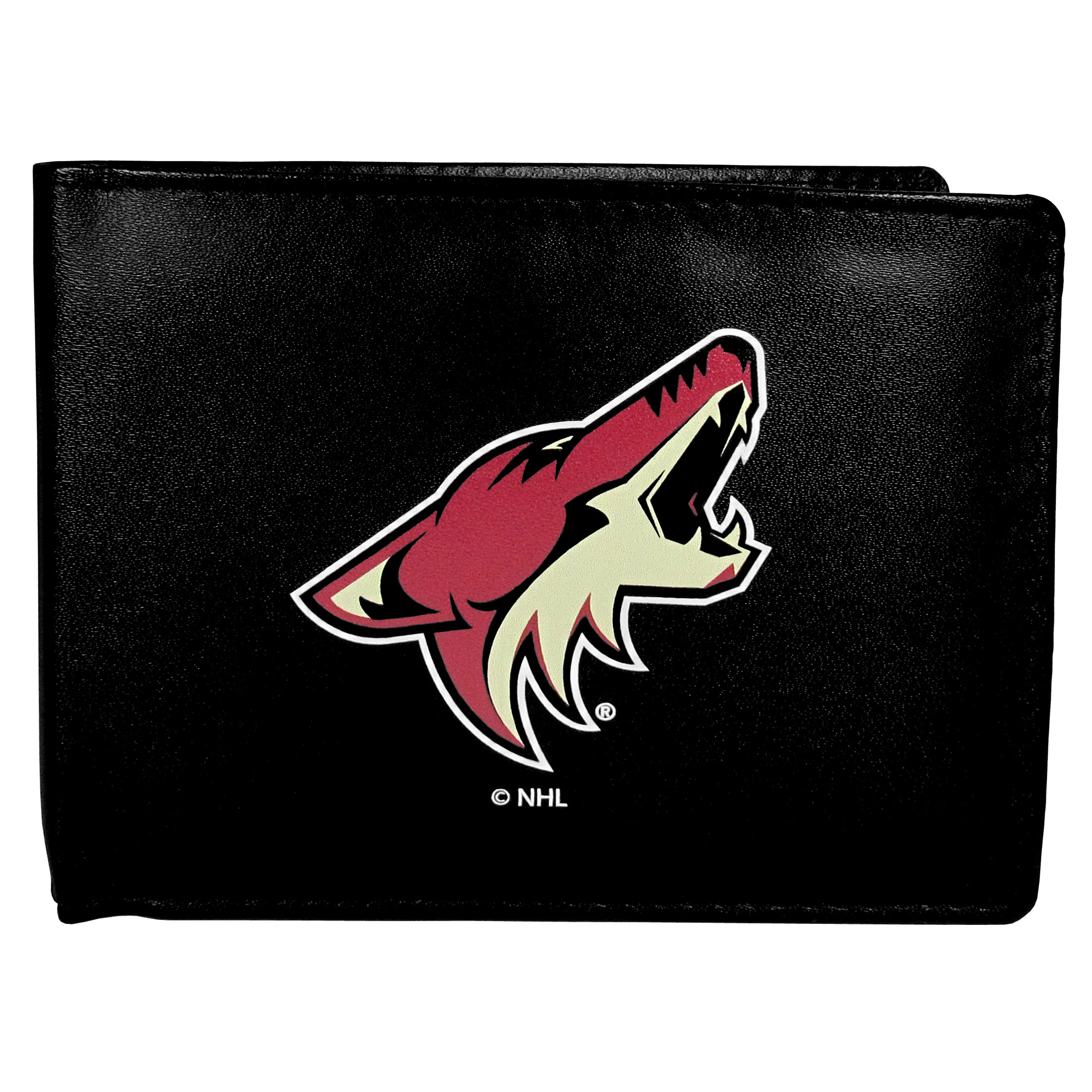Arizona Coyotes® Leather Bi-fold Wallet, Large Logo - Our classic fine leather bi-fold wallet is meticulously crafted with genuine leather that will age beautifully so you will have a quality wallet for years to come. The wallet opens to a large, billfold pocket and numerous credit card slots and has a convenient windowed ID slot. The front of the wallet features an extra large Arizona Coyotes® printed logo.