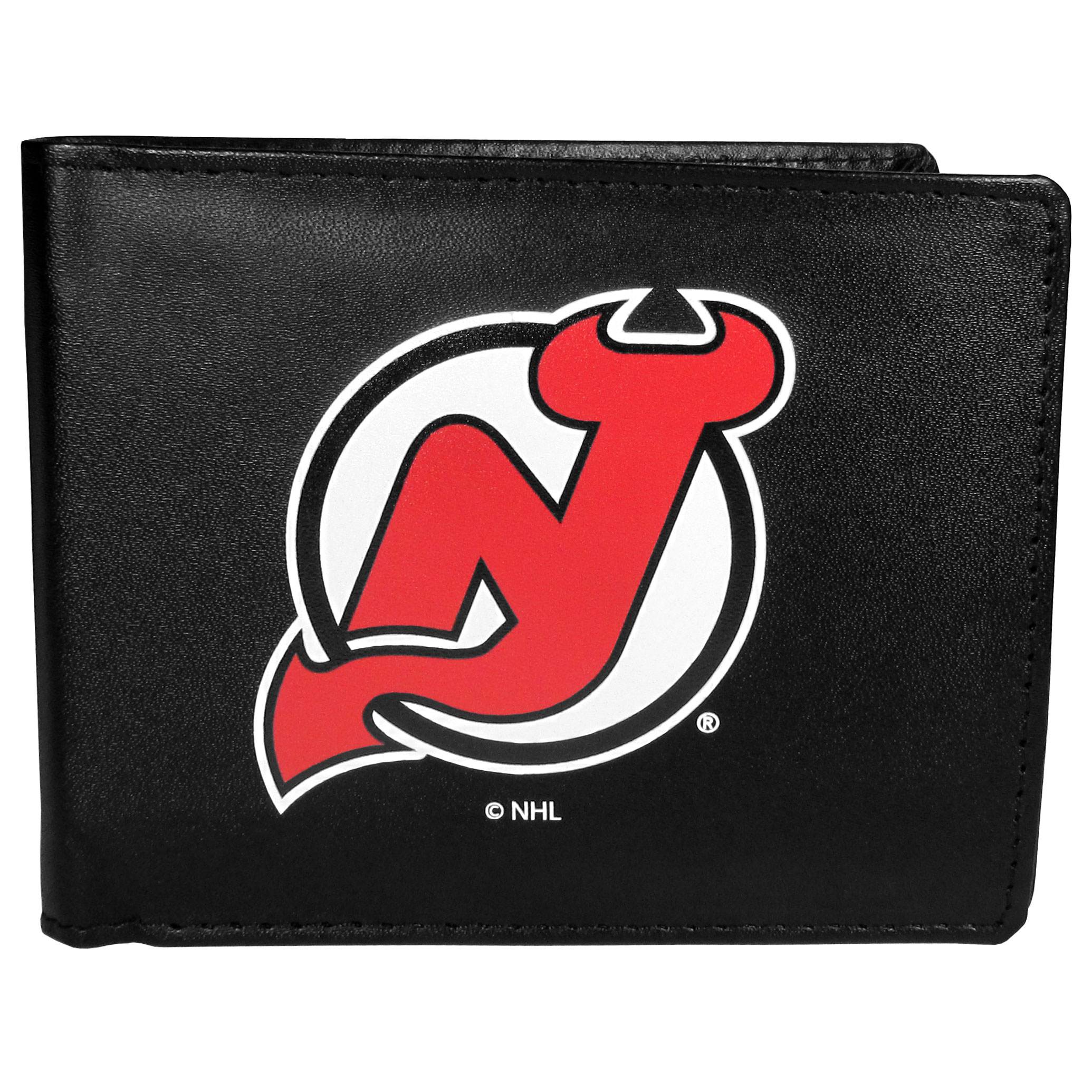 New Jersey Devils® Leather Bi-fold Wallet, Large Logo - Our classic fine leather bi-fold wallet is meticulously crafted with genuine leather that will age beautifully so you will have a quality wallet for years to come. The wallet opens to a large, billfold pocket and numerous credit card slots and has a convenient windowed ID slot. The front of the wallet features an extra large New Jersey Devils® printed logo.