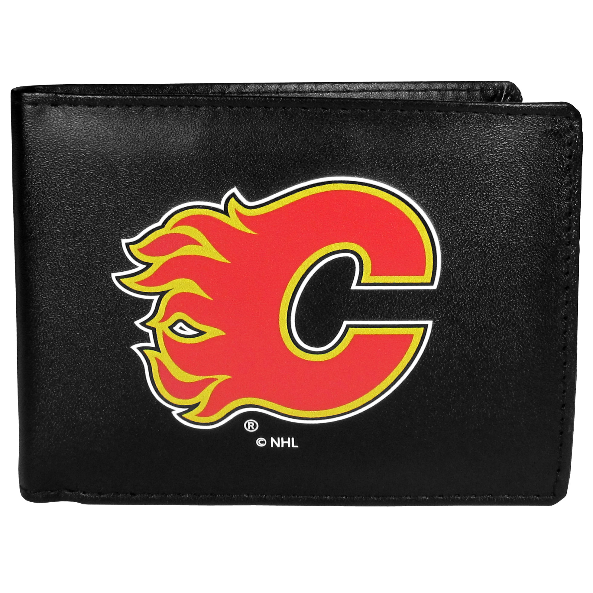 Calgary Flames® Leather Bi-fold Wallet, Large Logo - Our classic fine leather bi-fold wallet is meticulously crafted with genuine leather that will age beautifully so you will have a quality wallet for years to come. The wallet opens to a large, billfold pocket and numerous credit card slots and has a convenient windowed ID slot. The front of the wallet features an extra large Calgary Flames® printed logo.