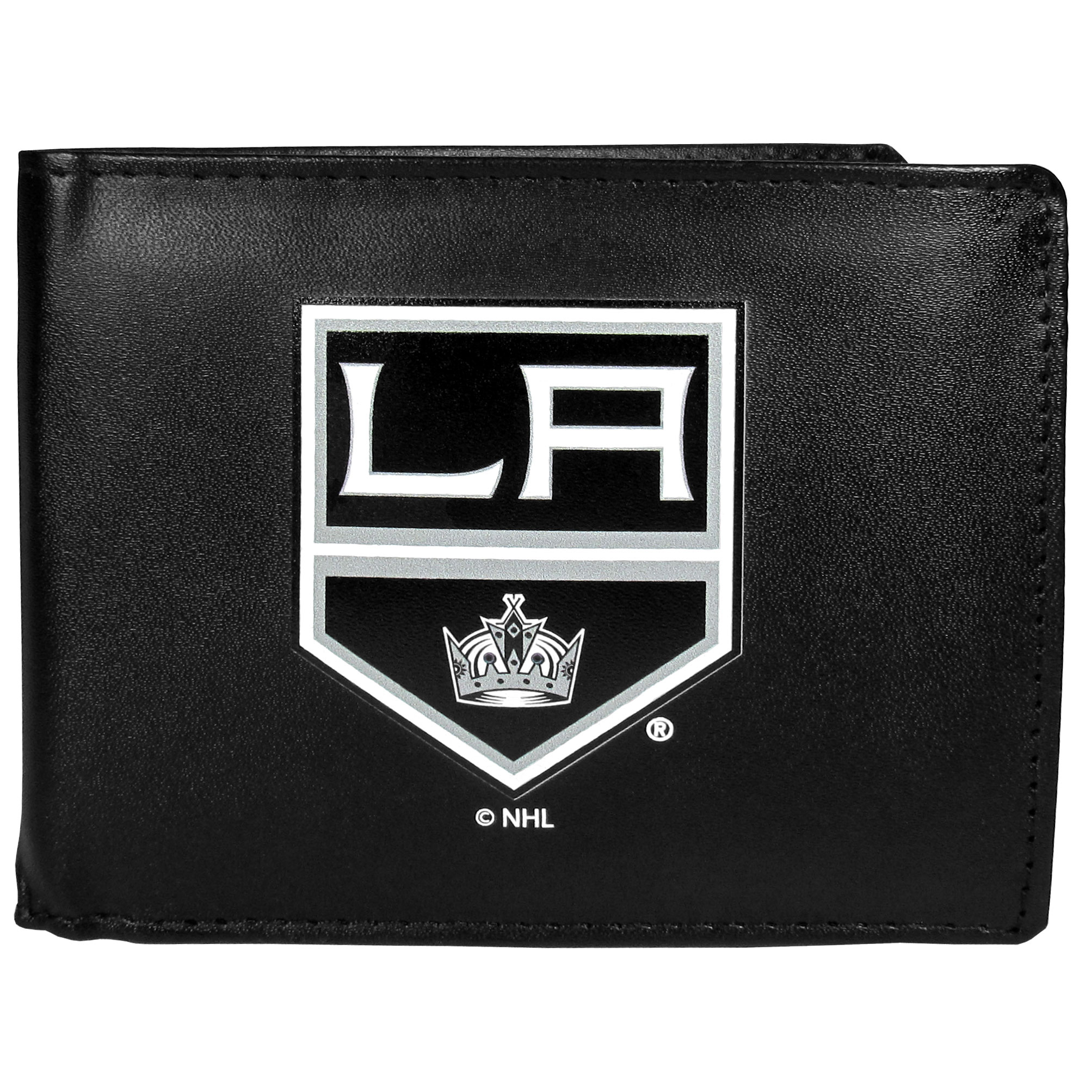 Los Angeles Kings® Leather Bi-fold Wallet, Large Logo - Our classic fine leather bi-fold wallet is meticulously crafted with genuine leather that will age beautifully so you will have a quality wallet for years to come. The wallet opens to a large, billfold pocket and numerous credit card slots and has a convenient windowed ID slot. The front of the wallet features an extra large Los Angeles Kings® printed logo.